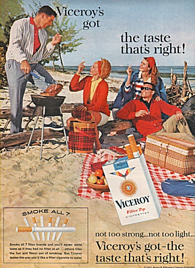 Viceroy filter tip cigarettes ad 1963 (Image1)