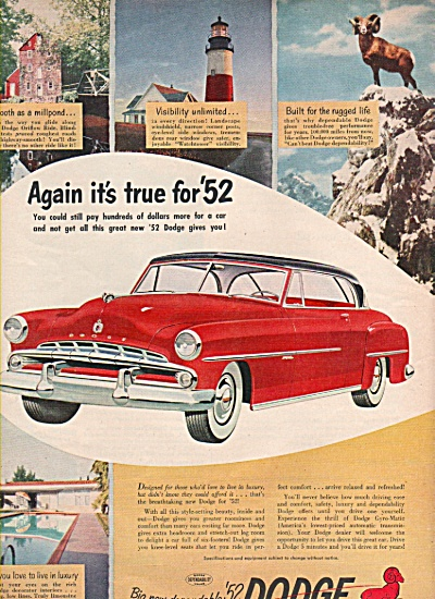 1952 DODGE Car AUTO AD Gyro Matic RED RED (Image1)