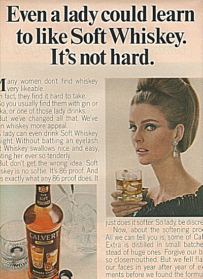 1965 Calvert Whiskey Print AD - ITS NOT HARD Model (Image1)