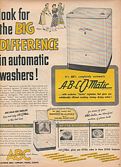 A-B-C-O-Matic automatic washers ad 1952 (Image1)