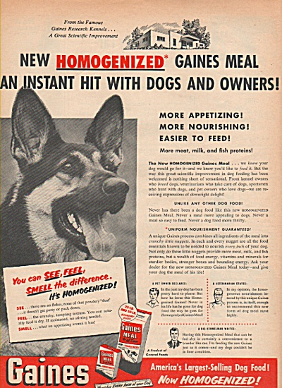 Gaines dog food ad 1952 GERMAN SHEPHARD (Image1)