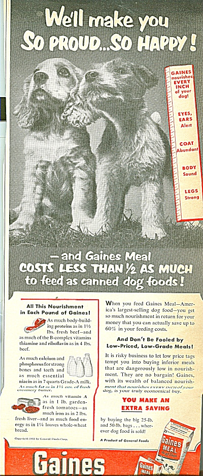 Gaines dog food ad 1951 (Image1)
