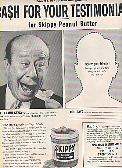 Skippy peanut butter - BERT  LAHR ad 1960 (Image1)