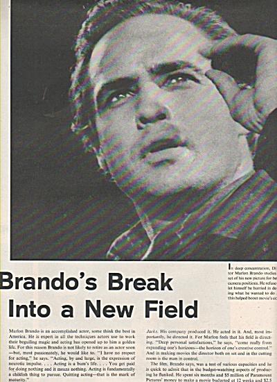 MARLON BRANDO - breaks into a new field  1960 (Image1)