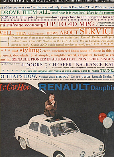 Renault Dauphine auto ad 1960 HOT LE CAR (Image1)