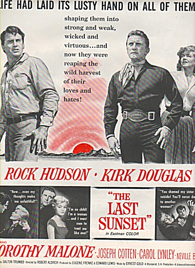 1961 Movie AD THE LAST SUNSET- Kirk Douglas Rock Hudson (Image1)