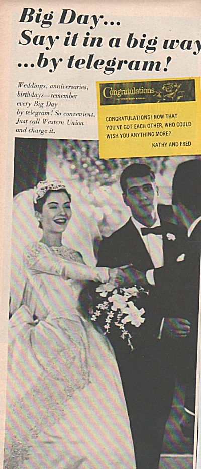 Western Union Telegram Ad 1961 Newlyweds Get Telegram