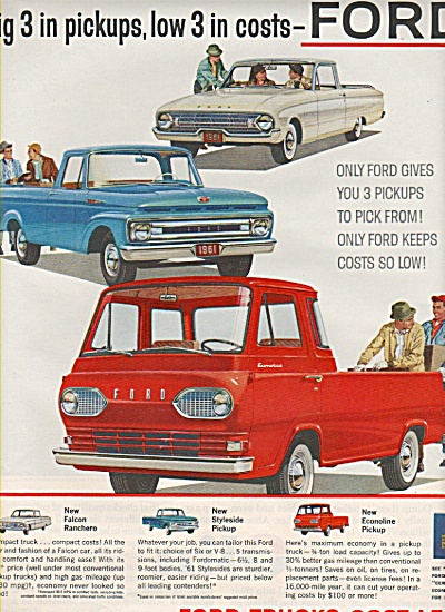 Ford Trucks ad 1961 BIG 3 IN PICK UPS (Image1)