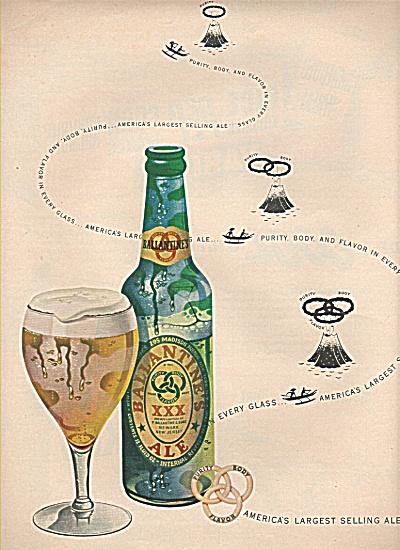 Ballantine ale ad GREAT VINTAGE AD ~ Volcano ART (Image1)
