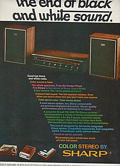Sharp Color Stereo Ad 1969