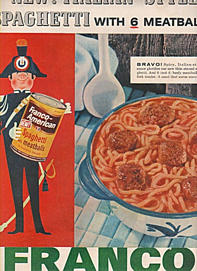 Franco-american Spaghetti With Meatballs Ad 1957