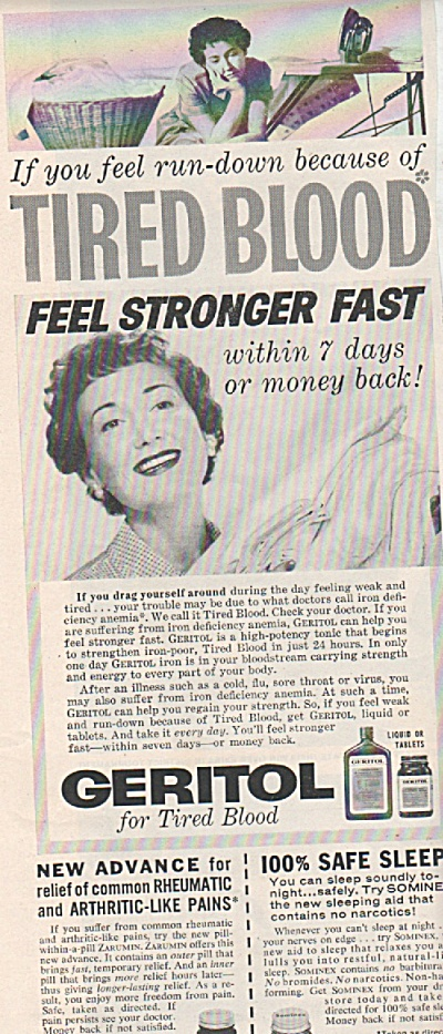 Geritol for tired blood ad 1957 (Image1)