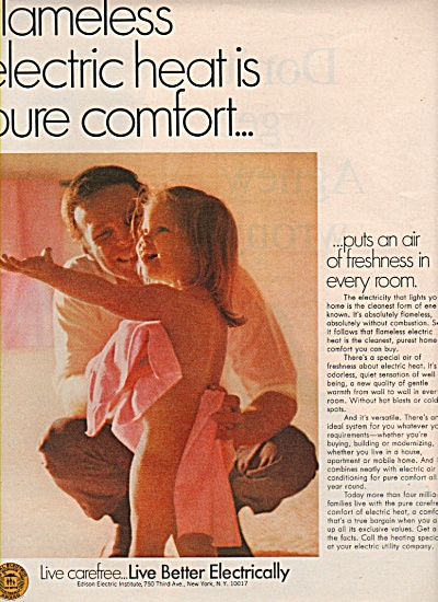 Live better electrically ad 1970 Dad Towels Nude Girl (Image1)