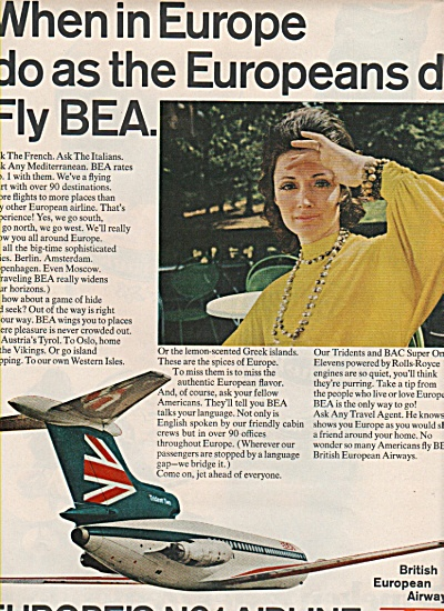 British European Airways- Bea Ad 1970