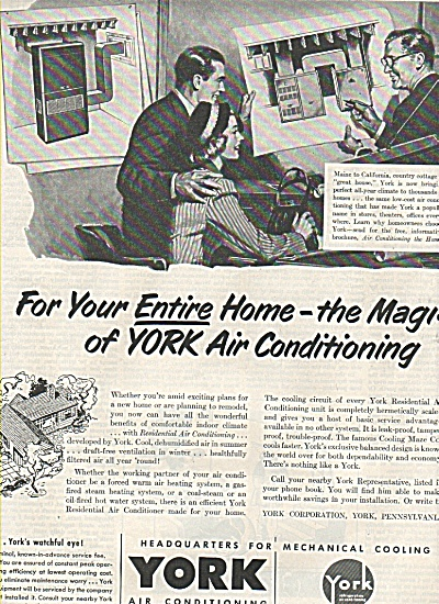 York Air Conditioning & Refrigeration Ad 1952