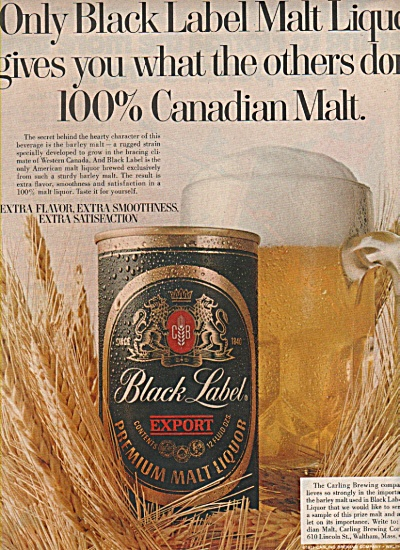 Carlings black label malt liquor ad 1970 (Image1)