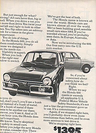 The Honda Car ad 1970 (Image1)