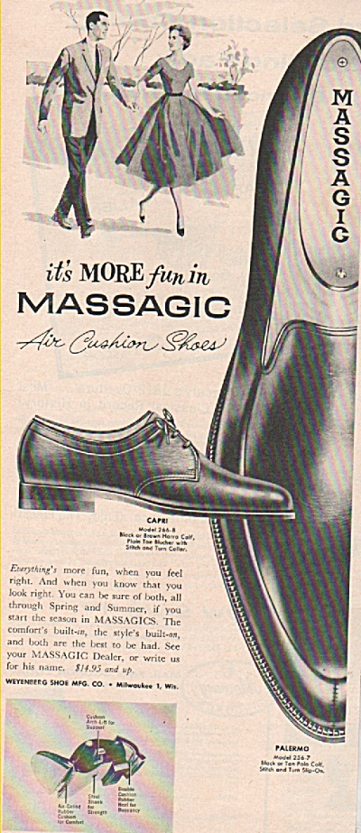 Massagic mens shoes ad 1958 (Image1)