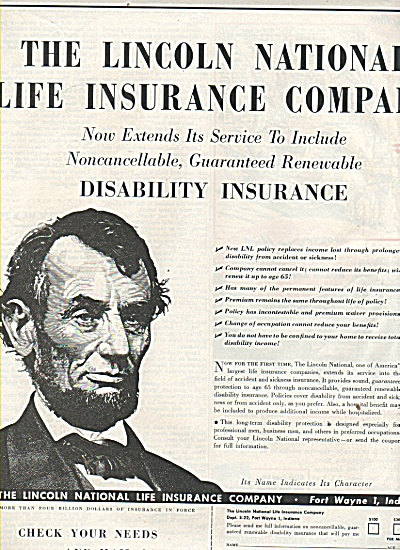 The Lincoln National Life Ins. Co., ad 1952 (Image1)