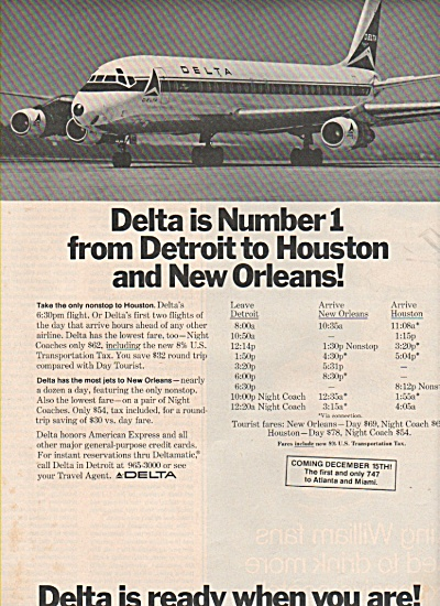 Delta Airlines Ad 1970