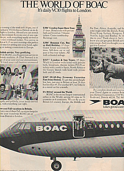 Boac - British Overseas Airways Corporation Ad 1970