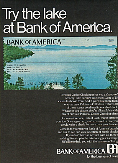 Bank of America ad 1970 TRY THE LAKE (Image1)