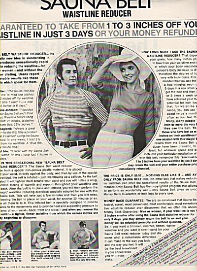 Sauna Belt - waistline reducer ad  1970 (Image1)