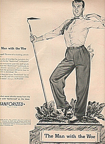 Sanforized  ad - The Man with the Woe (Image1)