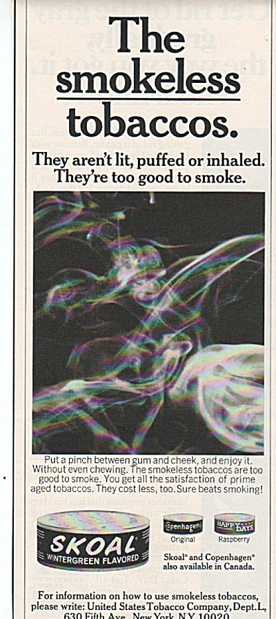 Skoal smokeless tobaccos ad 1970 (Image1)