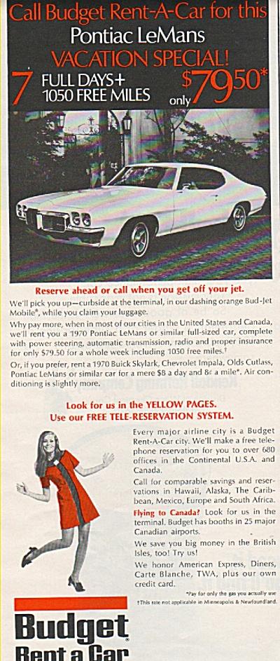 Budget rent a car ad 1970 (Image1)