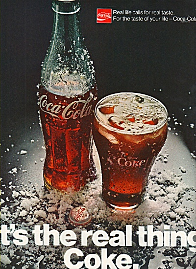 Coca Cola ad 1970 Its the Real Thing COKE (Image1)