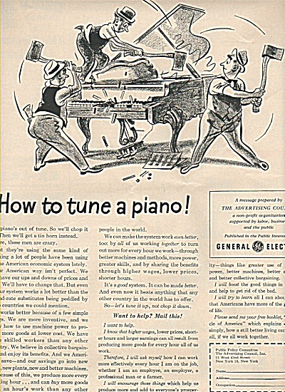 Generall Electric- How to tune a piano ad (Image1)