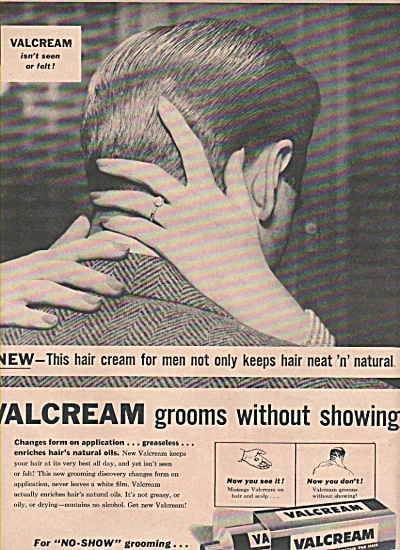 Valcream for the Hair ad 1957 (Image1)