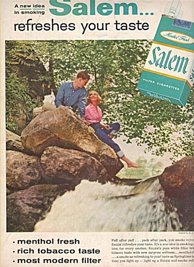 Salem filter cigarettes ad 1957 LOVING BY WATERFALL (Image1)
