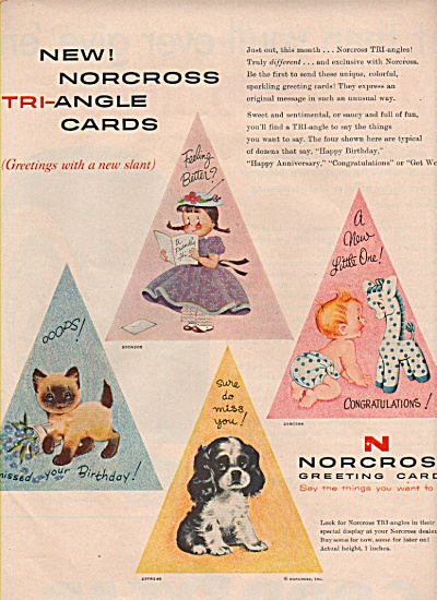 Norcross Greeting Cards Ad 1957 Angle Cards