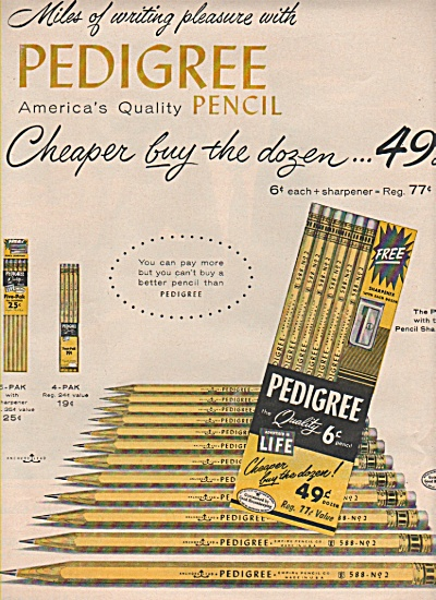 Pedigree pencils ad 1957 (Image1)