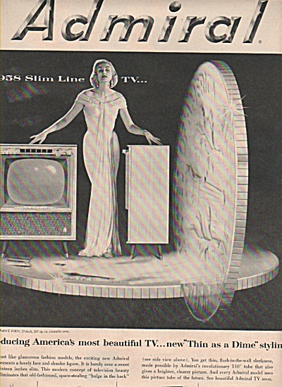 Admiral Television Ad 1957 Fashion Model