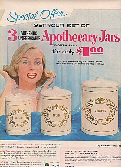 Apothecary Jars Sale Ad 1957
