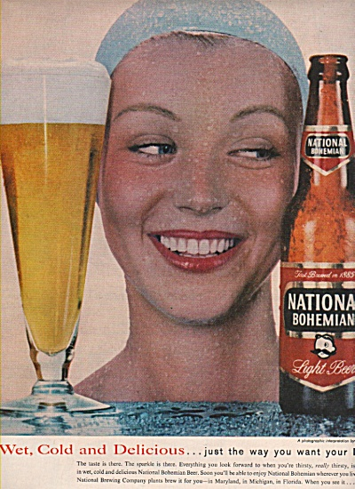 National Bohemian Light Beer Ad 1957