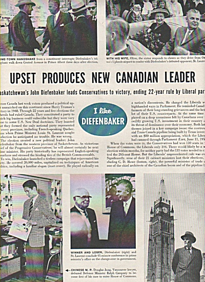 1957 JOHN DIEFENBAKER elected PM of Canada Story (Image1)
