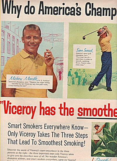 Viceroy filter tip cigarettes ad 1957 (Image1)