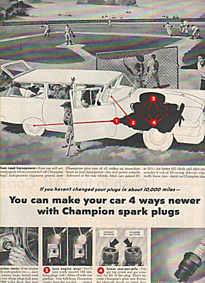 Champion spark plugs ad 1957 GREAT AD (Image1)