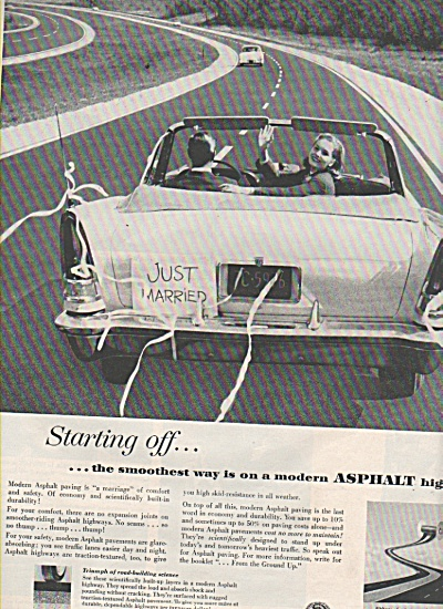 1957 The Asphalt Institute Print Ad Just Married