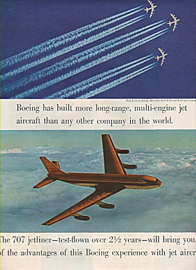 Boeing 707 Airplane Ad 1957