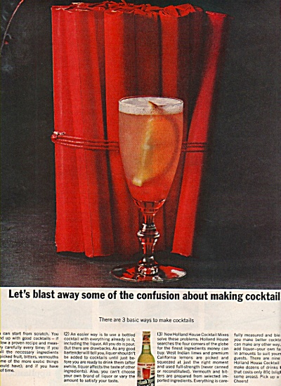 Holland House cocktail mix ad 1962 (Image1)