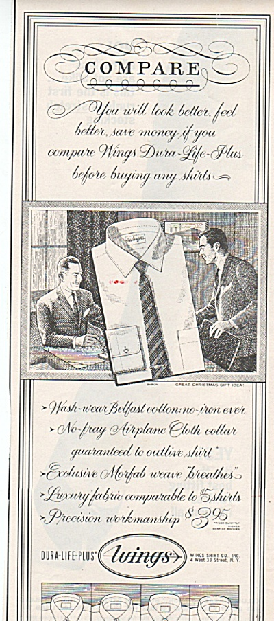 Wings shirt co. ad 1962 (Image1)