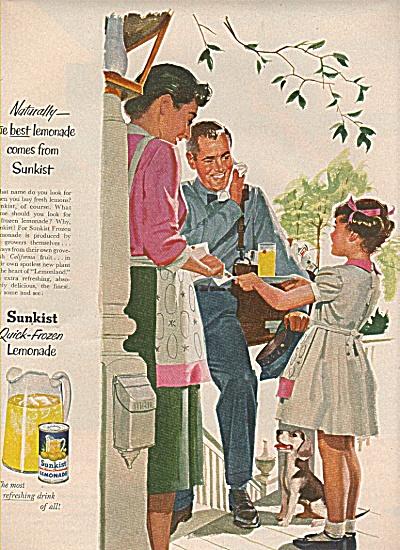 Sunkist quick frozen lemonade 1955 ad (Image1)
