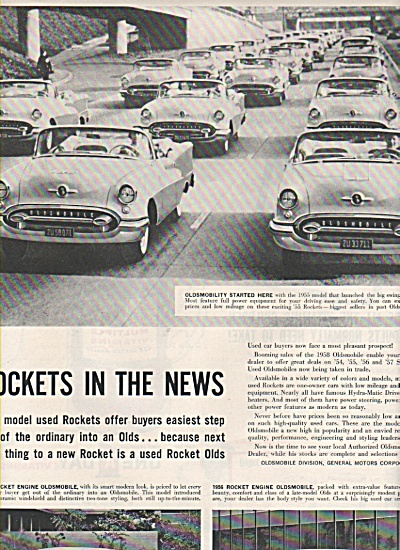 1958 Oldsmobile Rockets Car Print Ad In The News