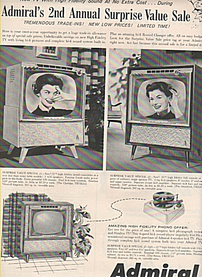 Admiral Television Ad 1958