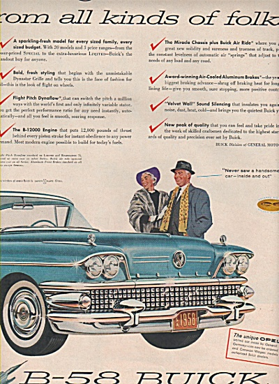 1958 Buick B-58 Car Print AD Automobile Believe the AYE (Image1)